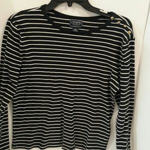CHAPS Classic black and white stripe blouse